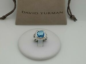 David Yurman Albion Ring with Blue Topaz 11x11mm and Diamonds (0.22CT) size 8