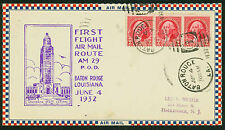 1932 FIRST FLIGHT AIR MAIL ROUTE AM 29 - BATON ROUGE, LA TO HACKENSACK(ESP#1530)