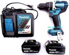 "New Makita Brushless 18V XPH12 1/2"" Hammer Drill, (2) BL1830 Batteries,  Charger"
