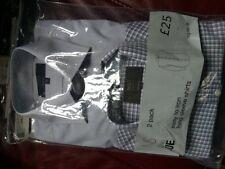 "2 x M&S Man regular fit long sleeve checked shirt - 15"""