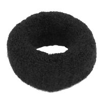 """Hairstyling Black Terry Ponytail Holder 1.6"""" Wide Stretchy Hair Band T1"""