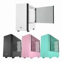 Mid Tower Gaming PC Case ATX M-ATX ITX Magnetic Door Tempered Glass Panel