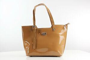 Lack Tasche Shopper Umhängetasche Schultertasche Handtasche Sandfarbe Damen bag