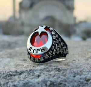 Crescent Moon Star Design Solid 925 Sterling Silver Men's Red Zircon Ring