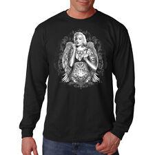 Marilyn Monroe Gangster Tattoo Angel Wings Movie Star Long Sleeve T-Shirt Tee
