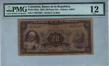 COLOMBIA NOTE BANCO DE LA REPUBLICA $20 ORO 1943 PICK# 392 a  PMG FINE 12