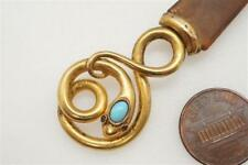 LOVELY ANTIQUE FRENCH NATURAL SHELL & 18K GOLD TURQUOISE SNAKE BOOKMARK c1880
