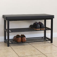 2-Tier Metal Storage Bench Shoe Rack Organize W/ Leather Top- Black