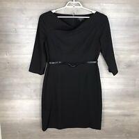 Tahari Women's Size 12 Sheath Dress 3/4 Sleeve Black Belted Career Essential