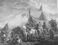 HALTE DE CAVALERIE. GRAVURE SUR PAPIER.ORIGINAL DE WOUVERMANS. FRANCE. FIN XVIII