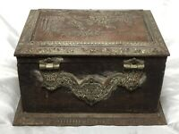 Old 19th Century French Napoleon III Antique Jewellery Casket Box Copper Plaque