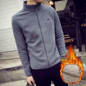 Men Classic Full Zip Micro Fleece Jacket Casual Work Wear Extra Warm TOP New