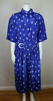 VINTAGE - WOMEN'S BLUE AND WHITE PRINT SHIRT DRESS - SIZE 14 - LADY CAROL