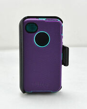 OtterBox Defender Hard Shell Case w/Holster Belt Clip fo iPhone 4 4S Purple/Teal