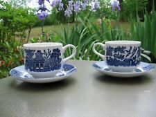 2 Churchill Staffordshire BLUE WILLOW Cup Saucers NEW - Set of Two (gar)