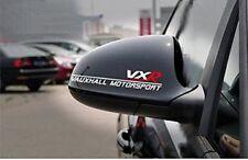 2 x WHITE VAUXHALL VXR MOTORSPORT REAR VIEW WING SIDE MIRROR STICKER DECAL BADGE