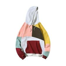 Fashion Men Hooded Cotton Hoodies Korean Casual Jacket Color block Tops Pullover