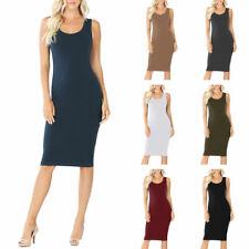 Womens Sleeveless Cotton Bodycon Tank Knee Length Midi Dress