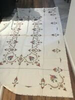 """Vintage Tablecloth Hand Embroidered Inlaid Lace Inserts Ivory 98""""x64"""" Floral"""