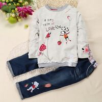 Toddler Baby Girls Clothes Set Autumn Tops Denim Jeans Pant Winter Outfits HOT