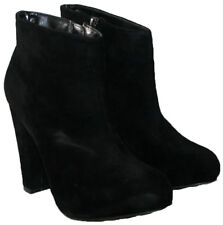 LADIES BLACK FAUX SUEDE FASHION ANKLE BOOT WITH SIDE ZIP IN SIZE 6