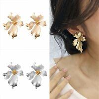 Vintage Gold Silver Metal Big Flower Earrings Women Fashion Personality Ear Stud