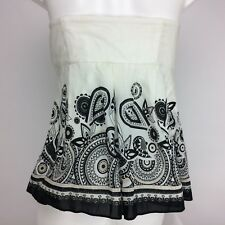 White House Black Market Women's Designer Side Zip Bustier Corset Black & White