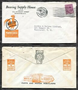 VANCOUVER 1945 Blackout Cancel on Car Parts Dealer ADVERTISING Cover (inv:p1912)