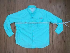 Columbia Men's PFG Bahama II Long Sleeve Shirt XXL Blue Vented Nylon