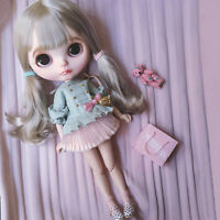"New [JB] 19 Joints 12"" Takara Blythe Long Neo Nude  Doll Silver Hair/Wig"