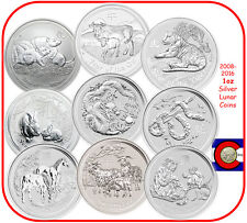 2008-2016 Australia Silver 1oz Lunar Coin Set, Series II, Mouse-Monkey
