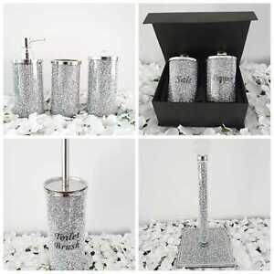 SILVER CRUSHED DIAMOND CRYSTAL NEW LATEST HOME KITCHEN BATHROOM ACCESSORIES UK