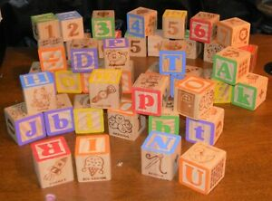 42 Wooden Alphabet Blocks, Toys, Numbers, Special Characters