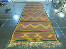 Large 500cm Long Handmade Persian Kilim Runner Geometric Stairs Burgundy Striped