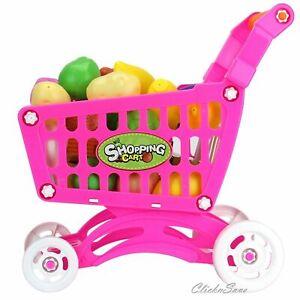 Kids Childrens Shopping Trolley cart Play Set Toy Gift Plastic Fruit 50 PCS