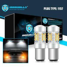 2pcs 1157 1156 LED White/Amber DRL Switchback Turn Signal Parking Light Bulbs