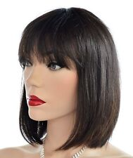 Brazilian Remi Human Hair Natural Black Tint / Bleach as U Wish Bob w/Bangs 1213