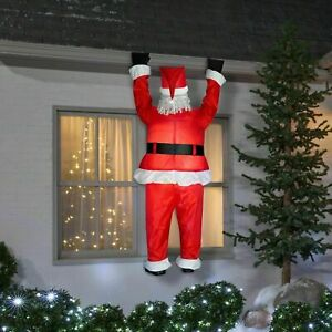 Christmas Gemmy 6.5 ft Realistic Santa Hanging from Roof Airblown Inflatable NIB