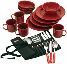 Camping Outdoor 24 Piece Coleman Enamel Dinner ware Set Cooking Supply Flatware