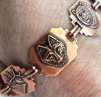 "Copper Bracelet  Linked Wildlife Wheeler 7.25"" Arthritis Healing Folklore cb 259"