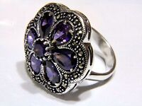 Authentic Solid 925 Sterling Silver Women Ring Amethyst Gemstone Marcasite