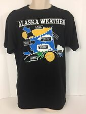 Vintage Men's XL Alaska Weather Black Short Sleeve Shirt 50/50
