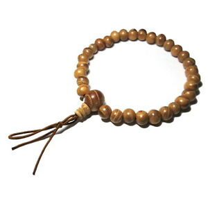 Keyaki Wooden Bracelet for Mens Womens Stretch Charm Japan Juzu Asian Rosary Zen