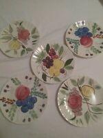 Fondeville Pottery, Ambassador. Vintage 5 Salad, Luncheon Plates. Fruit Designs.