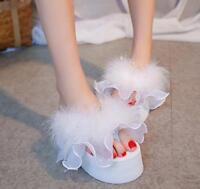 Womens Faux Fur Flip Flop Slippers Sandals Platform Wedge Beach Casual ShoesJ737
