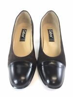 GABOR Brown Leather Suede Slip On Court Heels Shoes With Toes Details Sz UK7 Vgc