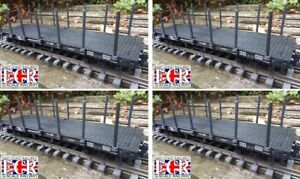 4 YES FOUR G SCALE FLATBED TRUCK, POSTS & STRAPPING  RAILWAY FREIGHT  45mm GAUGE
