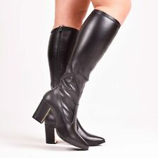 Ladies Women Black Knee High Block Heel Gold Detail Boot Faux Leather Sizes