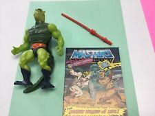 Whiplash 1983 He-Man MOTU   Green Tail Lizard Man  W/comic