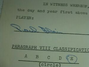 AUTOGRAPH...1965 Player Agreement Contract...PAUL BLAIR...Baltimore Orioles....
